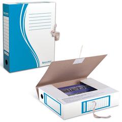 Папка архивная с завязками, микрогофрокартон, 75 мм, до 700 листов, синяя, BRAUBERG