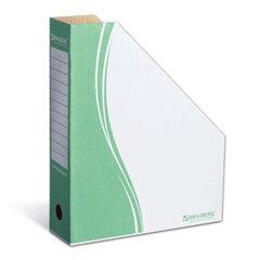 Лоток вертикальный для бумаг, микрогофрокартон, 75 мм, до 700 листов, зеленый, BRAUBERG