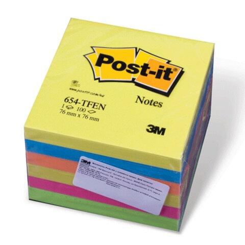 """Блоки самоклеящиеся (стикеры) POST-IT, комплект 6 шт., 76х76 мм, 100 л., """"Прилив энергии"""""""