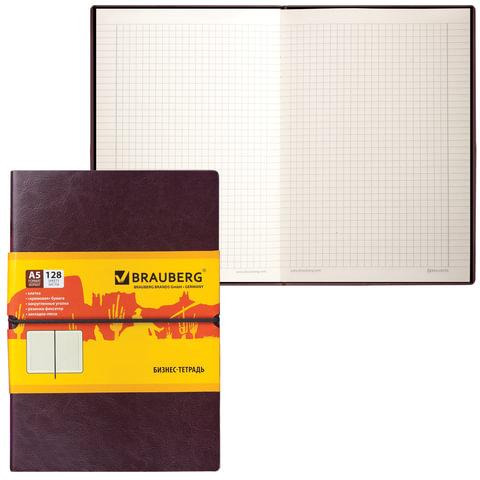 Бизнес-блокнот BRAUBERG (БРАУБЕРГ), А5, 148×218 мм, «Western» («Вестерн»), гладкий кожзам, резинка, клетка, 128 л., коричневый