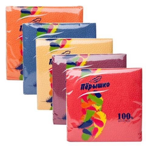 """Салфетки бумажные, 50 шт., 24х24 см, """"Перышко"""", цвет интенсив, ассорти, 100% целлюлоза"""