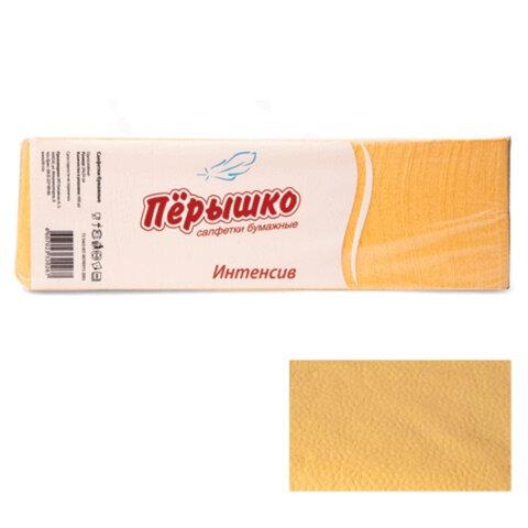 Салфетки бумажные, 400 шт., 24×24 см, «Перышко» Big Pack, желтые интенсив