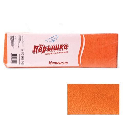 """Салфетки бумажные, 400 шт., 24х24 см, """"Перышко"""" Big Pack, оранжевые интенсив, сырье Италия"""