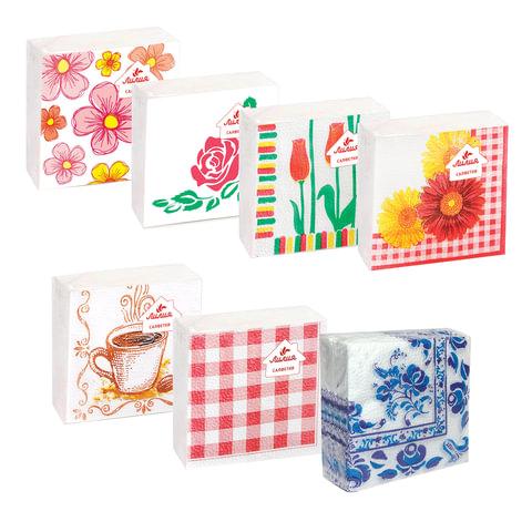 Салфетки бумажные, 100 шт., 24×24 см, «Лилия», с рисунком, ассорти