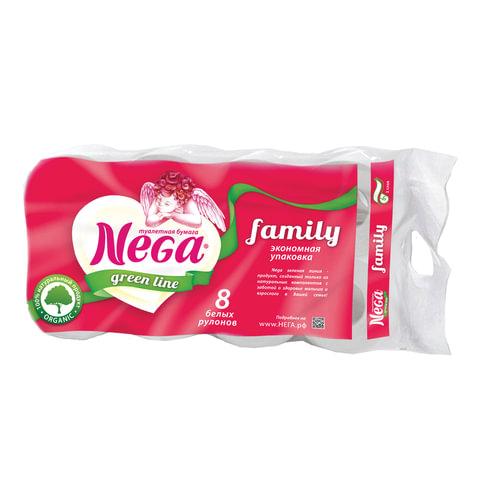 Бумага туалетная бытовая, спайка 8 шт., 2-х слойная (8×19,8 м), NEGA Family («Нега»), белая