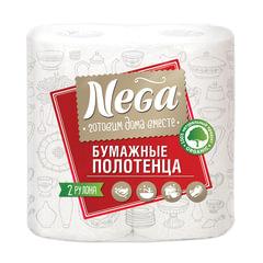 Полотенца бумажные бытовые, спайка 2 шт., 2-х слойные (2×13,2 м), NEGA («Нега»), белые