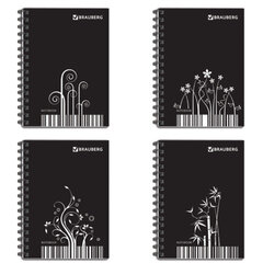 Блокнот А6, 80 л.,гребень сбоку, пластиковая обложка, клетка, BRAUBERG, «Штрихкод», 4 вида, 105×145 мм