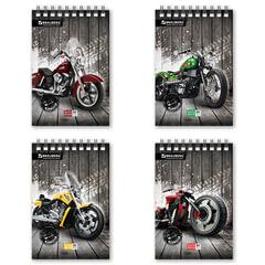 Блокнот А5, 80 л., гребень, мелованный картон обложка, клетка, BRAUBERG, «Мотоциклы», 4 вида, 146×206 мм
