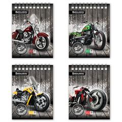 Блокнот А6, 48 л., гребень, мелованный картон обложка, клетка, BRAUBERG, «Мотоциклы», 4 вида, 108×145 мм