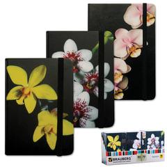 Блокнот 7БЦ, А7, 80 л., на резинке, обложка ламинированная, клетка, BRAUBERG, «Цветы», 3 вида, 90×140 мм