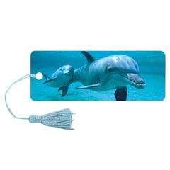 Закладка для книг с линейкой «Дельфин», объемная 3D, декоративный шнурок-завязка, 152×57 мм, BRAUBERG