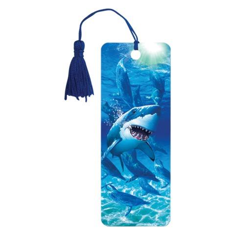 Закладка для книг с линейкой 3D BRAUBERG (БРАУБЕРГ), объемная, «Акула», декоративный шнурок-завязка