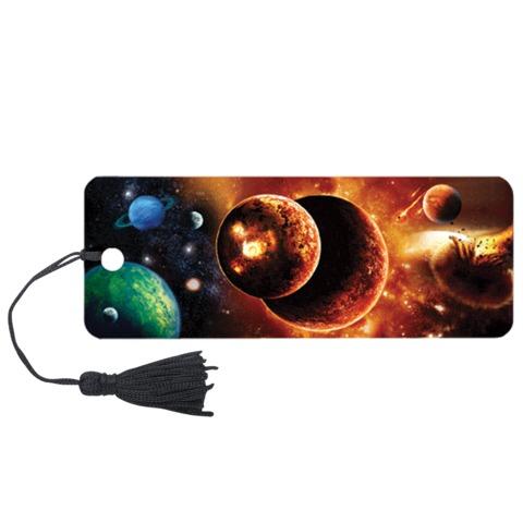 Закладка для книг с линейкой «Космос», объемная 3D, декоративный шнурок-завязка, 152×57 мм, BRAUBERG (БРАУБЕРГ)