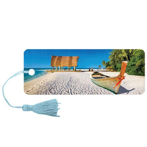 Закладка для книг с линейкой «Лагуна», объемная 3D, декоративный шнурок-завязка, 152×57 мм, BRAUBERG (БРАУБЕРГ)