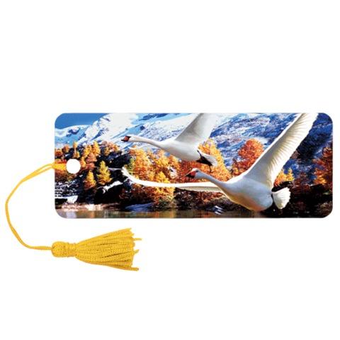 "Закладка для книг с линейкой ""Лебеди"" объемная 3D, декоративный шнурок-завязка, 152x57 мм, BRAUBERG"