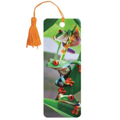 "Закладка для книг с линейкой ""Лягушата"", объемная 3D, декоративный шнурок-завязка, 152x57 мм, BRAUBERG"