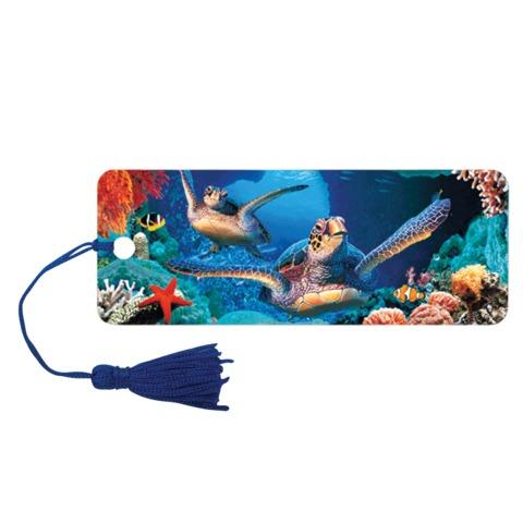"""Закладка для книг с линейкой """"Подводный мир"""", объемная 3D, декоративный шнурок-завязка, 152x57 мм, BRAUBERG"""