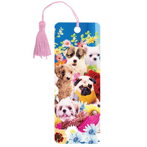 Закладка для книг с линейкой «Собачки», объемная 3D, декоративный шнурок-завязка, 152×57 мм, BRAUBERG (БРАУБЕРГ)