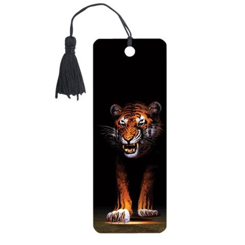 Закладка для книг с линейкой 3D BRAUBERG (БРАУБЕРГ), объемная, «Тигр», декоративный шнурок-завязка