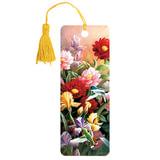 Закладка для книг с линейкой «Цветы», объемная 3D, декоративный шнурок-завязка, 152×57 мм, BRAUBERG