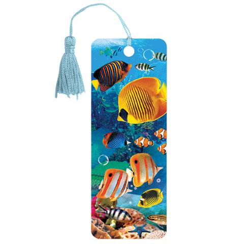 """Закладка для книг 3D, BRAUBERG, объемная, """"Экзотические рыбки"""", с декоративным шнурком-завязкой"""