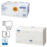Полотенца бумажные 200 шт., TORK (Система H3) Premium, комплект 15 шт., 2-слойные, белые, 23×23, ZZ(V), 100278
