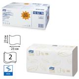 Полотенца бумажные 200 шт., TORK (H3) Premium, комплект 15 шт., 2-х слойные, белые, 23×23, ZZ (V), диспенсеры 600163, -283, 100278