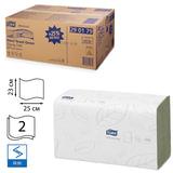 Полотенца бумажные, 250 шт., TORK (H3) Advanced, комплект 15 шт., 2-слойные, зеленые, 25×23, ZZ (V), диспенсер 600163,-283, 290179