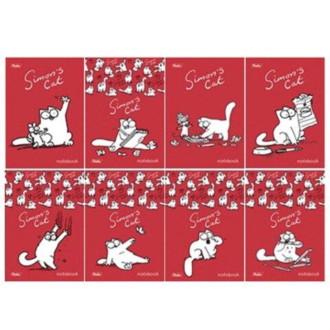 Блокнот А6, 48 л., скоба, мелованный картон обложка, HATBER, «Кот Саймона» (SC), 124×144 мм
