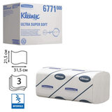 Полотенца бумажные 96 шт., KIMBERLY-CLARK Kleenex, комплект 30 шт., Ultra, 3-сл., белые, 31,5×21,5 см, Interfold, 601533-534, 6771