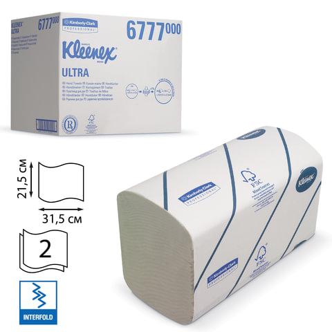 Полотенца бумажные 124 шт., KIMBERLY-CLARK Kleenex, комплект 30 шт., Ultra, 2-сл., бел., 31,5х21,5 см, Interfold, 601533-534, 6777