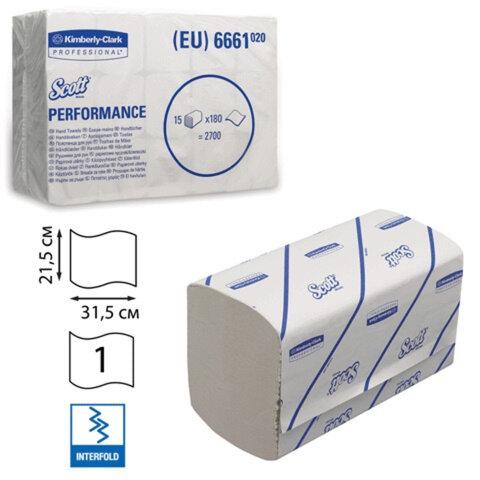 Полотенца бумажные 180 шт., KIMBERLY-CLARK Scott, комплект 15 шт., Performance, белые, 31,5×21,5 см, Interfold, 601533-534, 6661