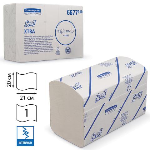 Полотенца бумажные 320 шт., KIMBERLY-CLARK Scott, комплект 15 шт., Xtra, белые, 21х20 см, Interfold, диспенсер 601533, АРТ. 6677