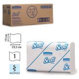 Полотенца бумажные 110 шт., KIMBERLY-CLARK Scott, комплект 16 шт., Slimfold, белые, 29,5×19 см, М-fold, диспенсер 601535, АРТ.5856