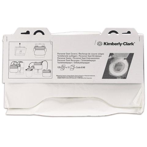 Покрытия на унитаз KIMBERLY-CLARK бумажные, 125 шт., комплект 12 шт., белые, 38,1×45,7 см, диспенсер 601549