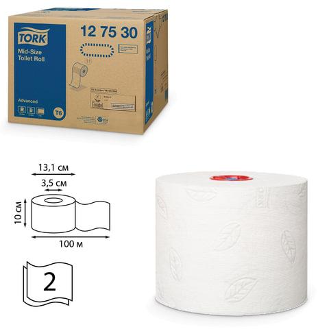 Бумага туалетная 100 м, TORK (Т6), комплект 27 шт., Advanced, 2-х слойная, белая, диспенсер 601568, 127530