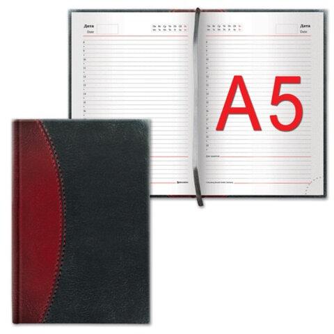 Ежедневник BRAUBERG (БРАУБЕРГ) недатированный, А5, 138×213 мм, «Prestige», комбинированная кожа с прострочкой, 160 л., черный/<wbr/>борд