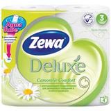 Бумага туалетная бытовая, спайка 4 шт., 3-х слойная (4×20,7 м), ZEWA Delux, аромат ромашки