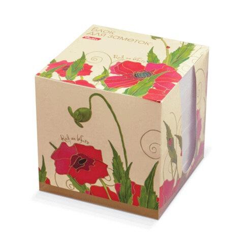 """Блок для записей HATBER в картонном боксе, куб 9х9х9 см, белый, """"Red on White"""", LN9 10641"""