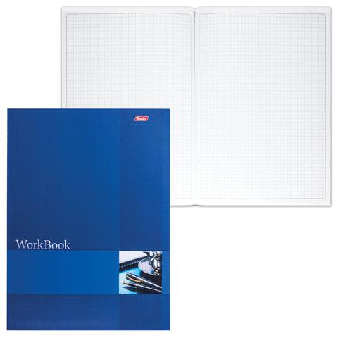 Книга учета, 96 л., А4, 210×285 мм, HATBER, блок сшито-клееный, тиснение, клетка, «Синяя»