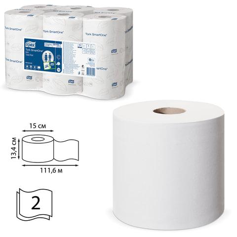Бумага туалетная 112 м, TORK (T9) SmartOne, комплект 12 шт., Advanced, 2-х слойная, белая, диспенсер 601667, 472193