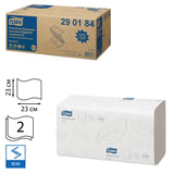 Полотенца бумажные, 200 шт., TORK (H3) Advanced, комплект 20 шт., 2-х слойные, белые, 23×23, ZZ (V), диспенсеры 600163,-283,290184