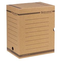 Короб архивный с клапаном, микрогофрокартон, 200 мм, до 1800 листов, плотный, бурый, BRAUBERG