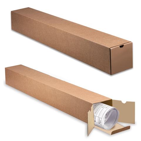 Накопитель документов, тубус для рулонов, 1000 мм х 120 мм х 120 мм, с вырубным клапаном, бурый