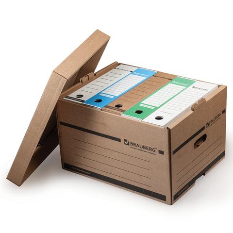 Короб архивный BRAUBERG (БРАУБЕРГ), 26,5×40,5×33 см, надстраиваемый, с крышкой, картон, бурый