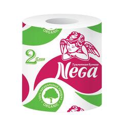 Бумага туалетная бытовая, 20 м, NEGA («Нега»), 2-х слойная, на втулке, 100% целлюлоза