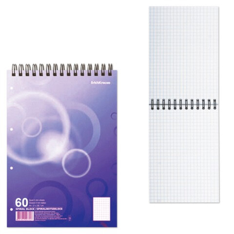 Блокнот А6, 60 л., гребень, ERICH KRAUSE, «Spiral Block 3» («Разноцветный»), 110×145 мм