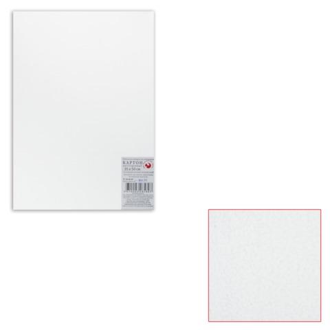 Белый картон грунтованный для живописи, 35×50 см, толщина 2 мм, акриловый грунт, двусторонний