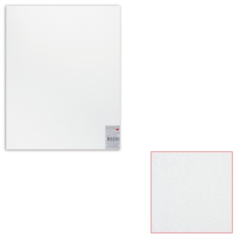 Белый картон грунтованный для живописи, 40×50 см, толщина 2 мм, акриловый грунт, двусторонний