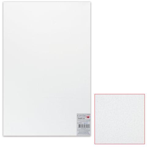 Белый картон грунтованный для живописи, 50×80 см, толщина 2 мм, акриловый грунт, двусторонний